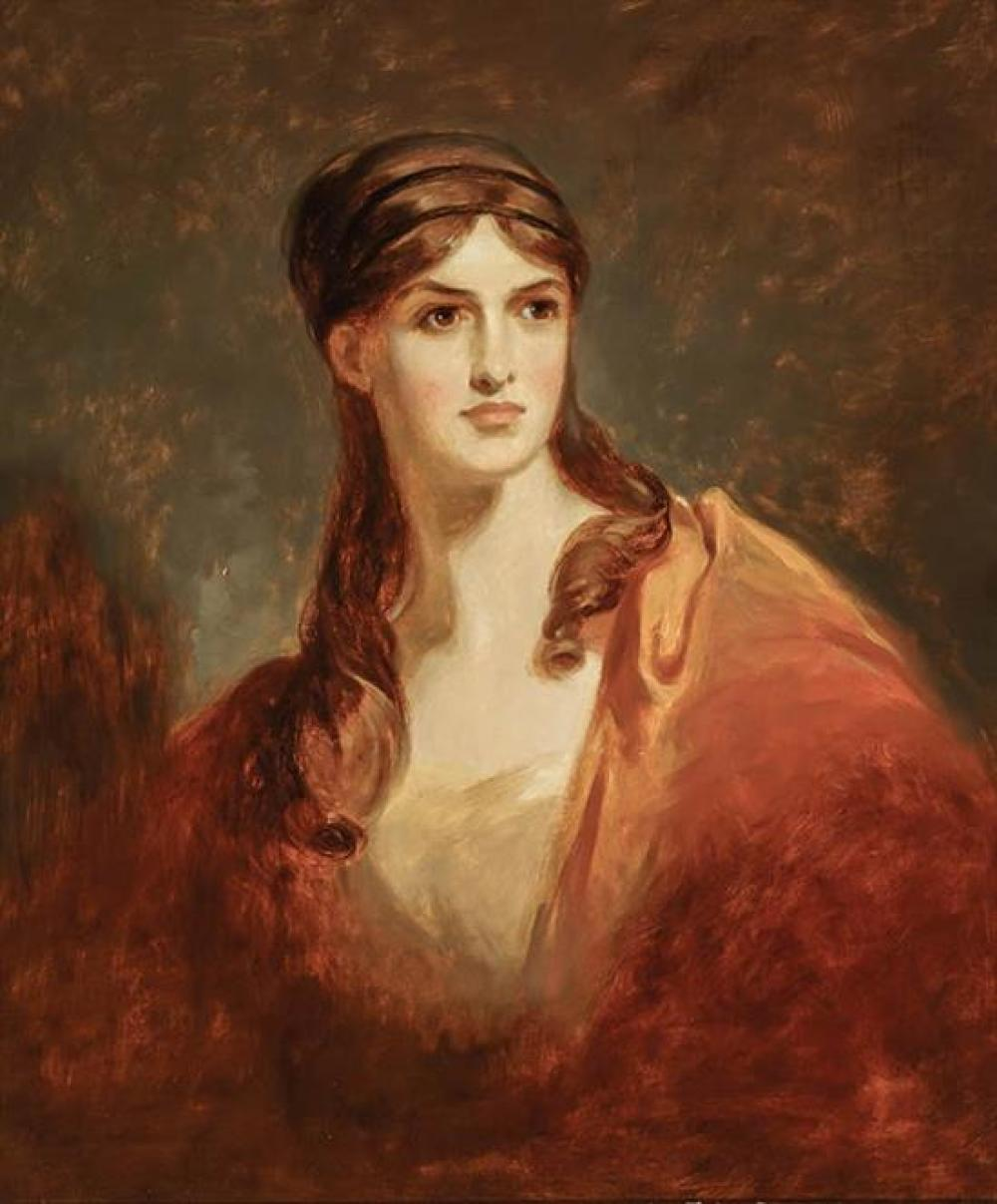 Thomas Sully (American 1783-1872), Fanny Kemble as 'Bianca', Oil on Canvas, 30 x 25-1/4 inches