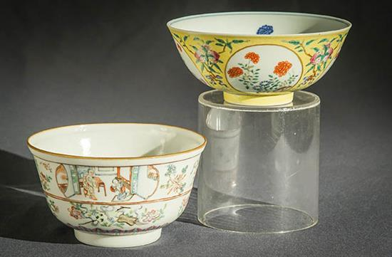 Chinese 'Famille Rose' Medallion Sgraffito Yellow Glaze Bowl and a 'Famille Rose' Bowl