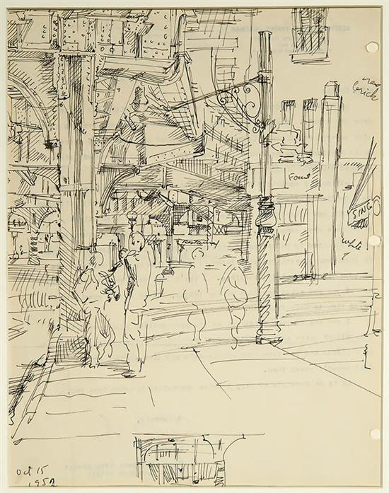 Reginald Marsh (American 1898-1954), The Bowery, Unsigned Ink on Paper