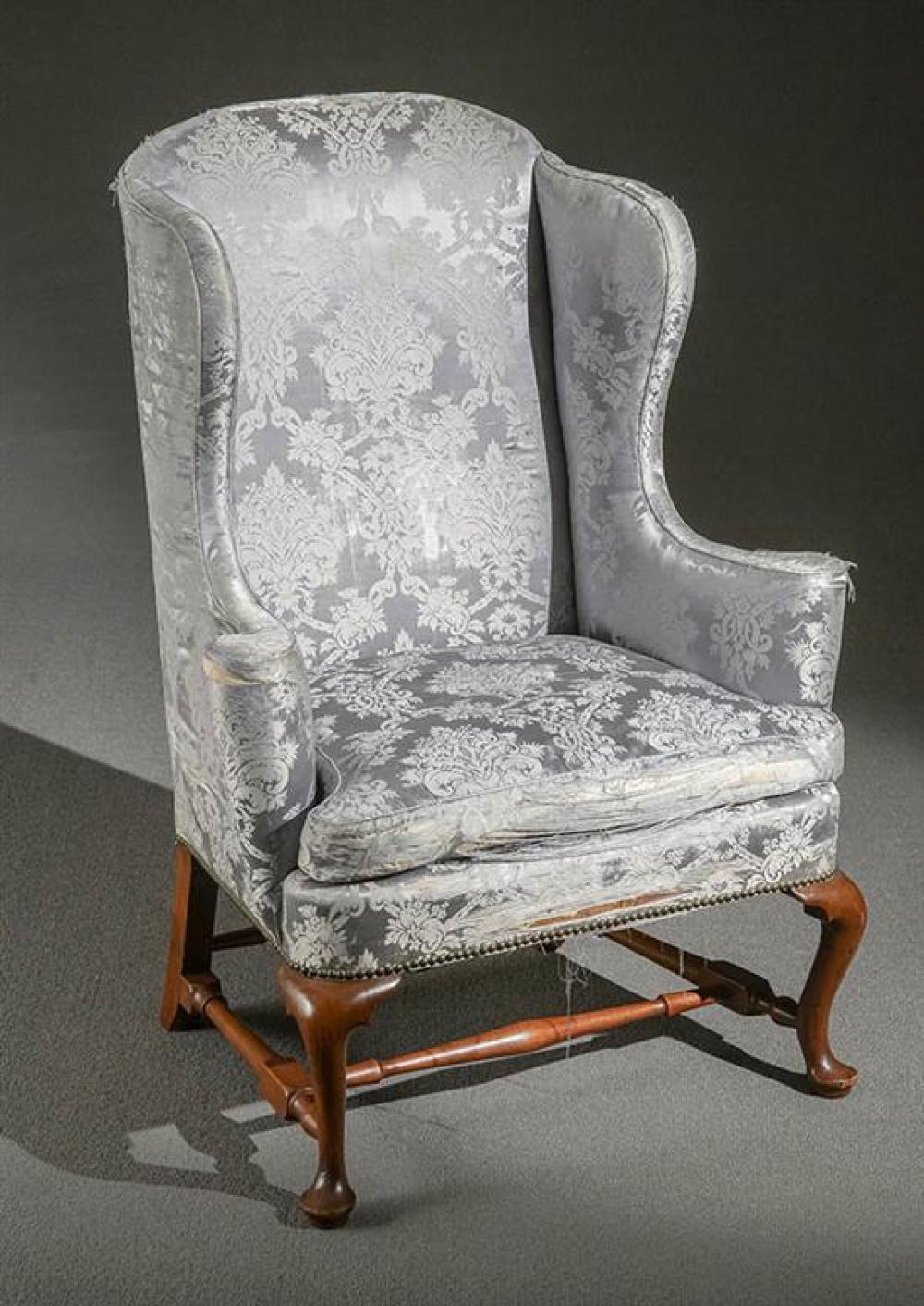 Queen Anne Walnut Wing Armchair, Boston Area, Circa 1760-1780