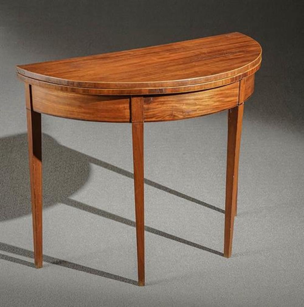 Federal Satinwood Inlaid Mahogany Demilune Fold-Top Card Table Probably Baltimore, Circa 1805