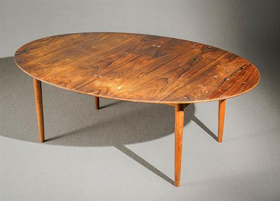 Finn Juhl Silver Inlaid Rosewood 'Judas' Dining Table Manufactured for Illums Bolighus, Designed in 1946