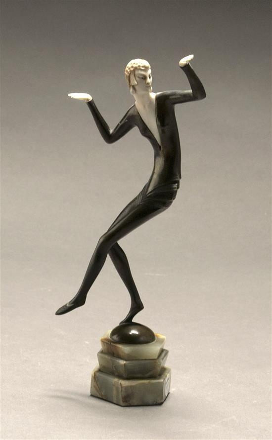 Hans Harders (German 1875-1955), Art Deco Dancer, Chryselephantine and Cold Painted Bronze Sculpture