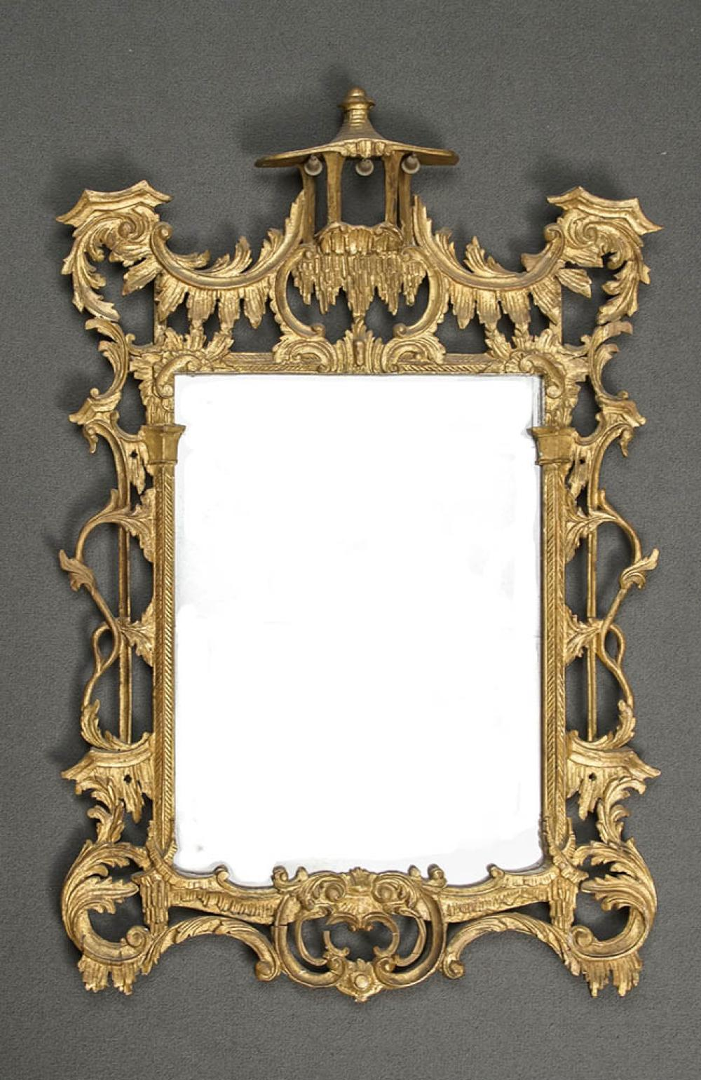 George III Style Giltwood Chinoiserie Mirror, 20th Century, 51 x 34-1/4 in