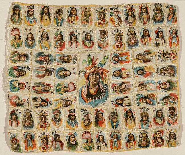 Framed Quilted Group of Seventy-Three American Indian Chief Tobacco Silks, Probably 'Tokio Cigarettes', American, Early 20th Century