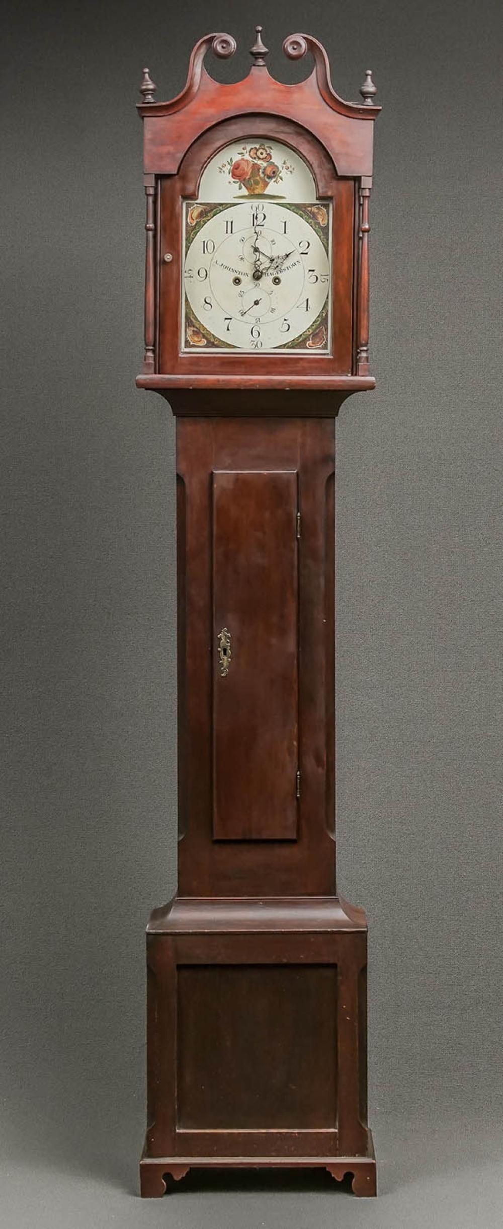 Federal Cherry Tall Case Clock, Arthur Johnston, Hagerstown, Maryland, Circa 1785-1800