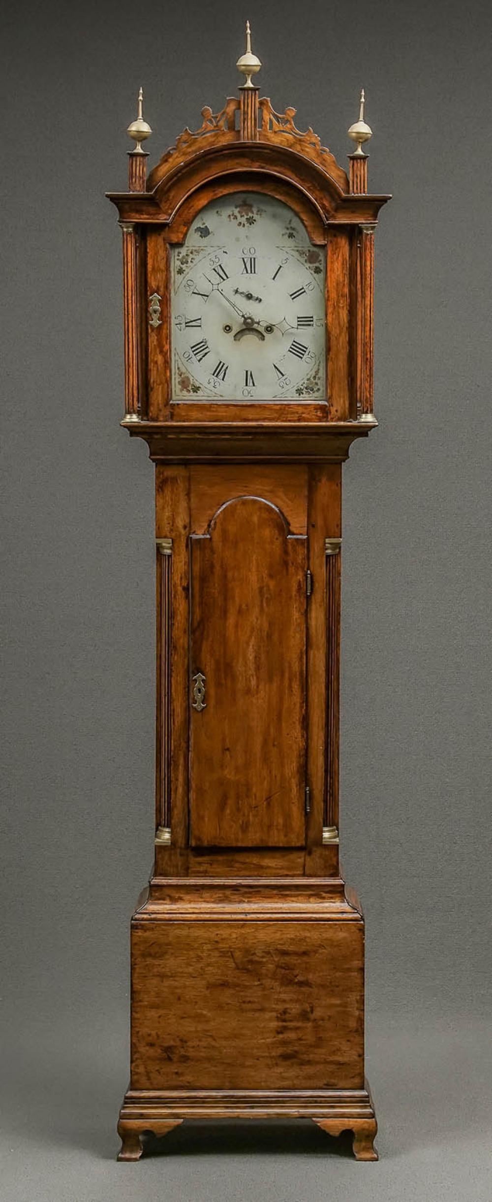 Federal Brass Mounted Walnut Tall Case Clock, Massachusetts, Circa 1800