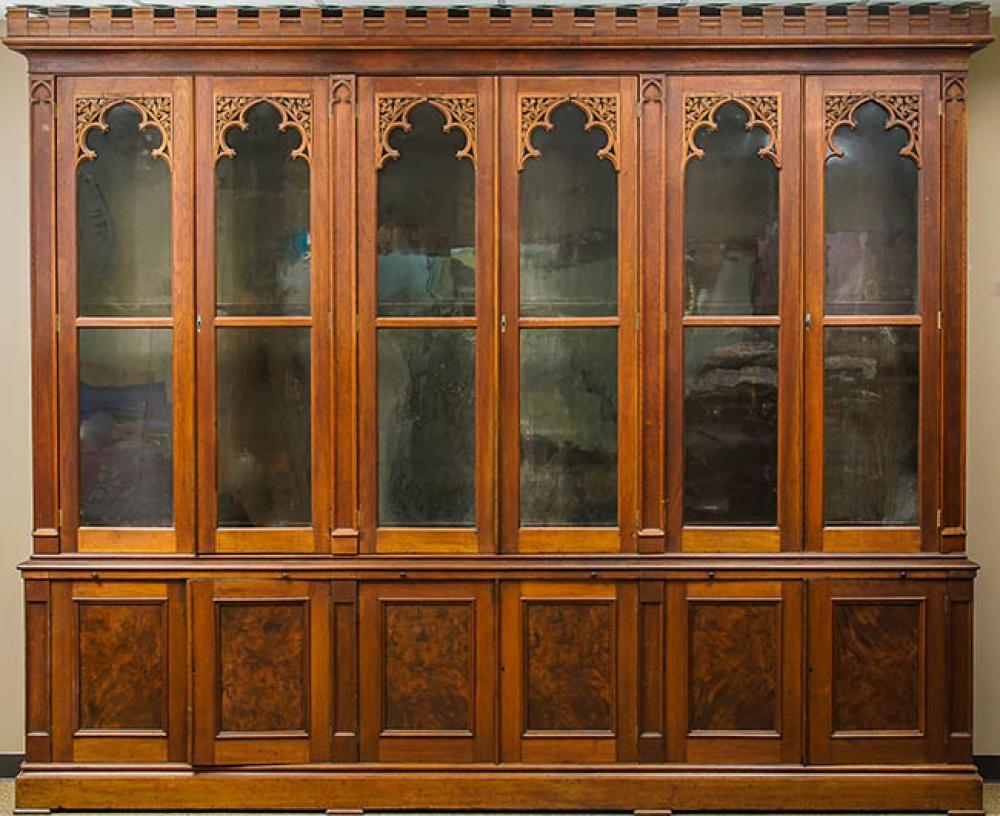 American Gothic Revival Walnut Bookcase, Last Half 19th Century