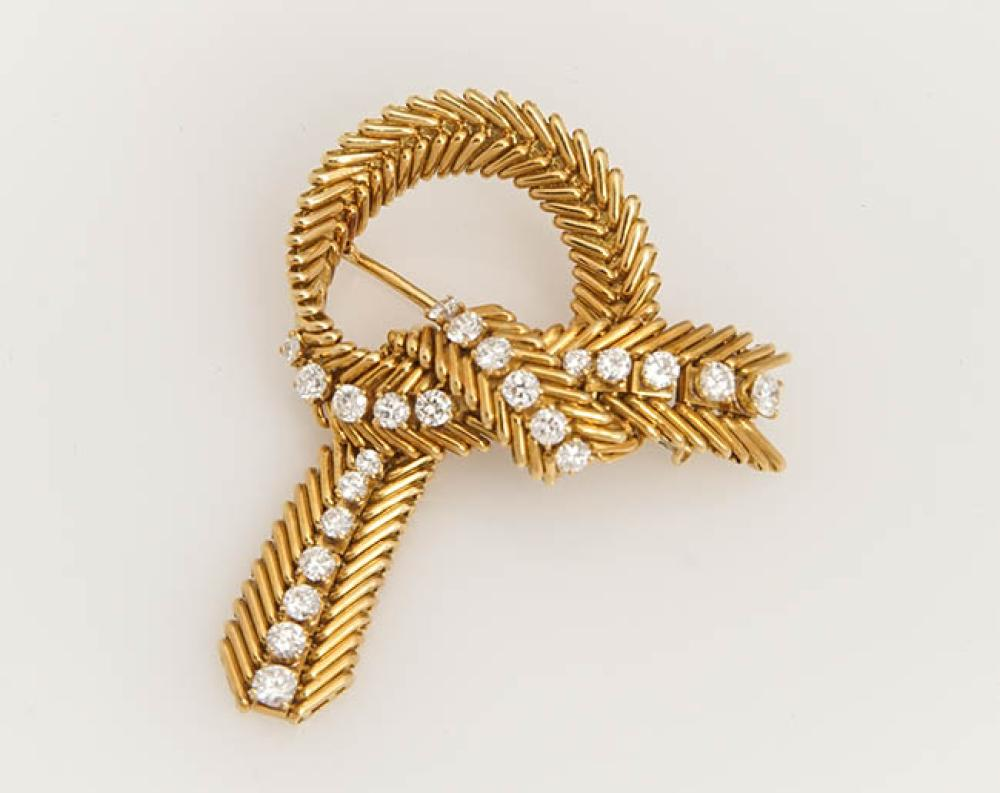 French 18-Karat Yellow-Gold and Diamond Brooch, possibly Van Cleef and Arpels