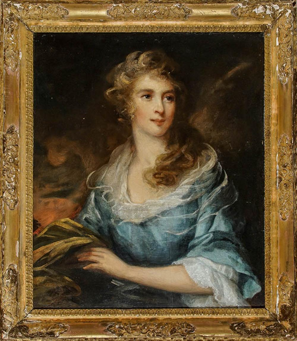 Circle of Henry Wyatt (British 1794-1840), Portrait of a Woman in a Blue Dress, Oil on Canvas, 28 x 24 in