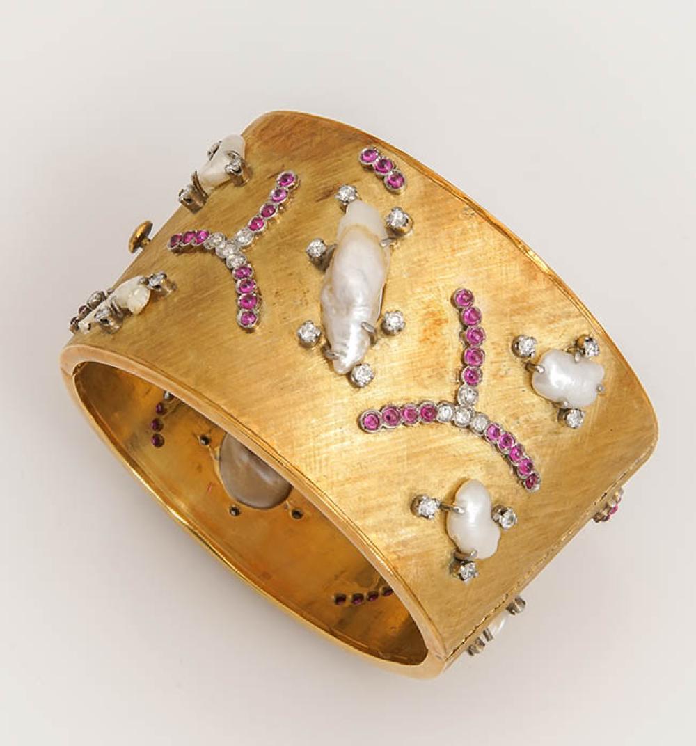 18-Karat Yellow-Gold, Diamond, Ruby and Blister Pearl Bangle Bracelet, Antoniazzi Chiappe