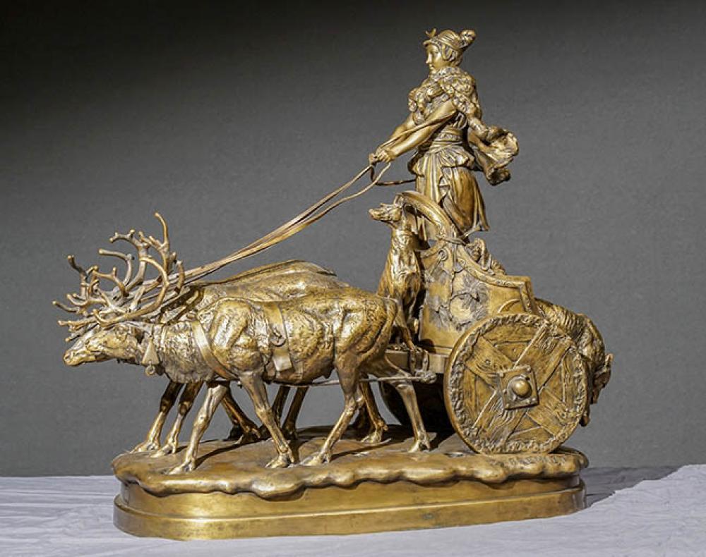 Emmanuel Frémiet (French 1824-1910), Diana on a Reindeer Drawn Chariot, Gilt Bronze Sculpture