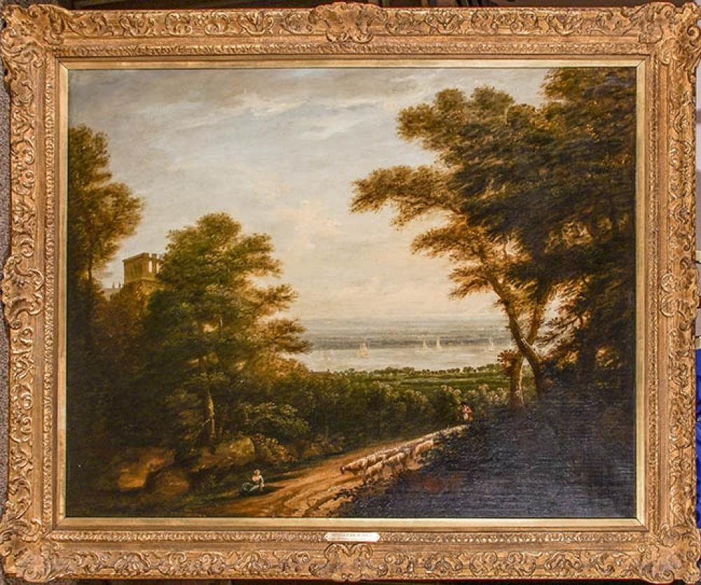 Style of Thomas Gainsborough (British, 18th-19th Century), View of Orwell Park, Ipswich, Oil on Canvas, 38 x 48 in