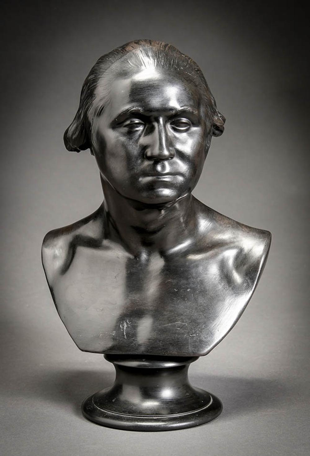 Wedgwood Black Basalt Bust of George Washington 19th Century, H: 13-3/4 in