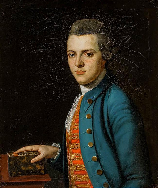 British School, 18th Century, Portrait of a Gentleman in a Blue Jacket, Oil on Canvas, 29 x 24 in