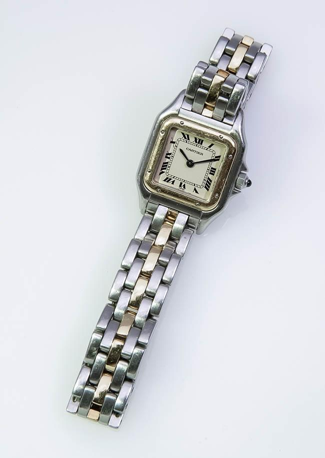 Lady's Yellow-Gold and Stainless Steel Quartz Wristwatch, Cartier, Panthère, Swiss