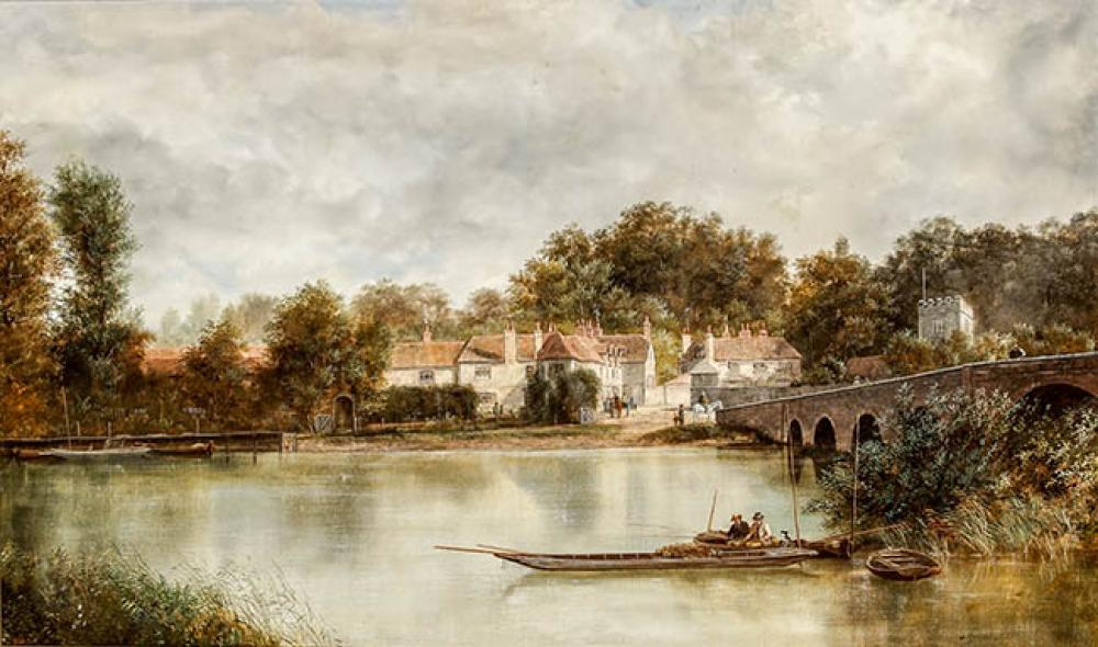 William C. Howard (British, 19th-20th Century), View of the River Thames at Sonning, Oil on Canvas, 30 x 50 in