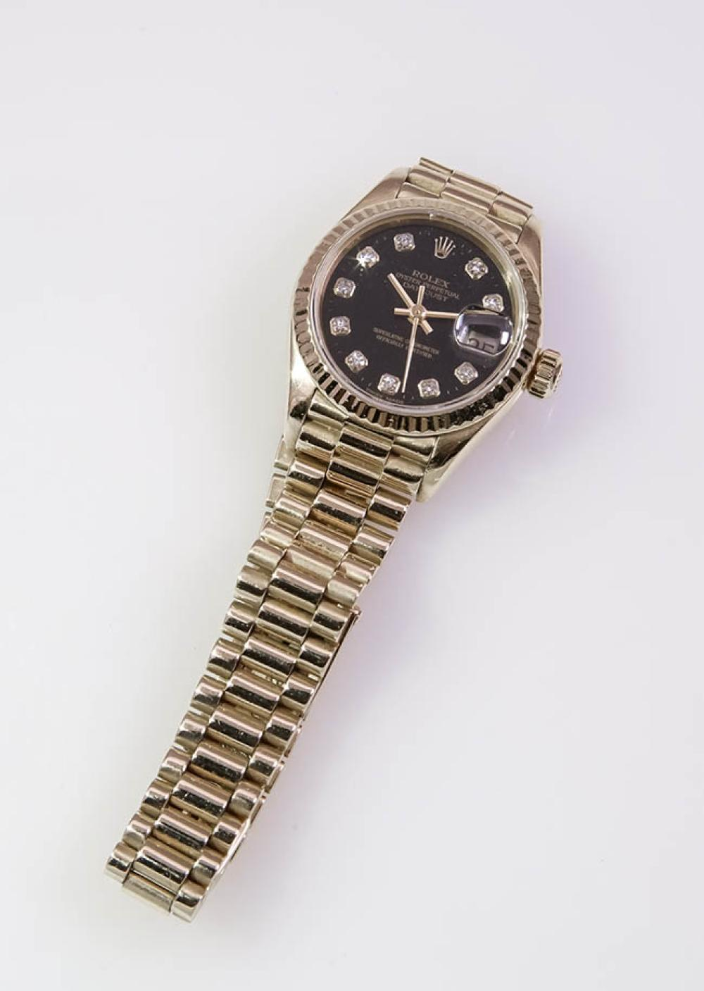 Lady's 18-Karat Yellow-Gold Automatic Wristwatch, Rolex, Oyster Perpetual, Datejust, Swiss