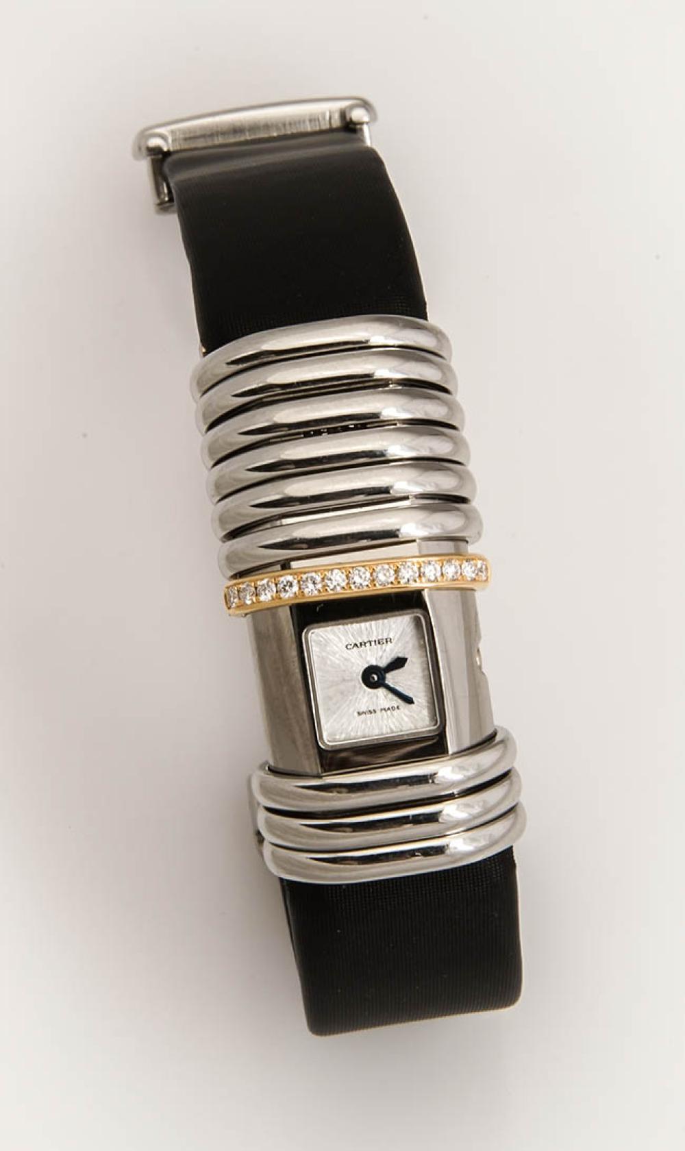 Lady's 18-Karat Yellow-Gold, Titanium Steel and Diamond Quartz Wristwatch, Cartier, Declaration, Swiss