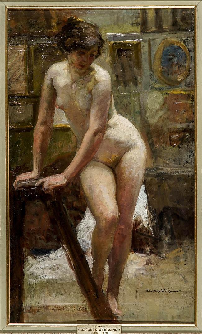 Jacques Weismann (French b. 1878), Dans Un Atelier, Oil on Canvas, 21-1/2 x 12-3/4 in