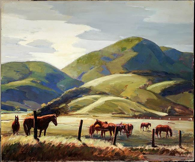 Jack (Jac) Elmo King (American 1920-1998), Western Landscape with Grazing Horses, Oil on Canvas, 20 x 24 in