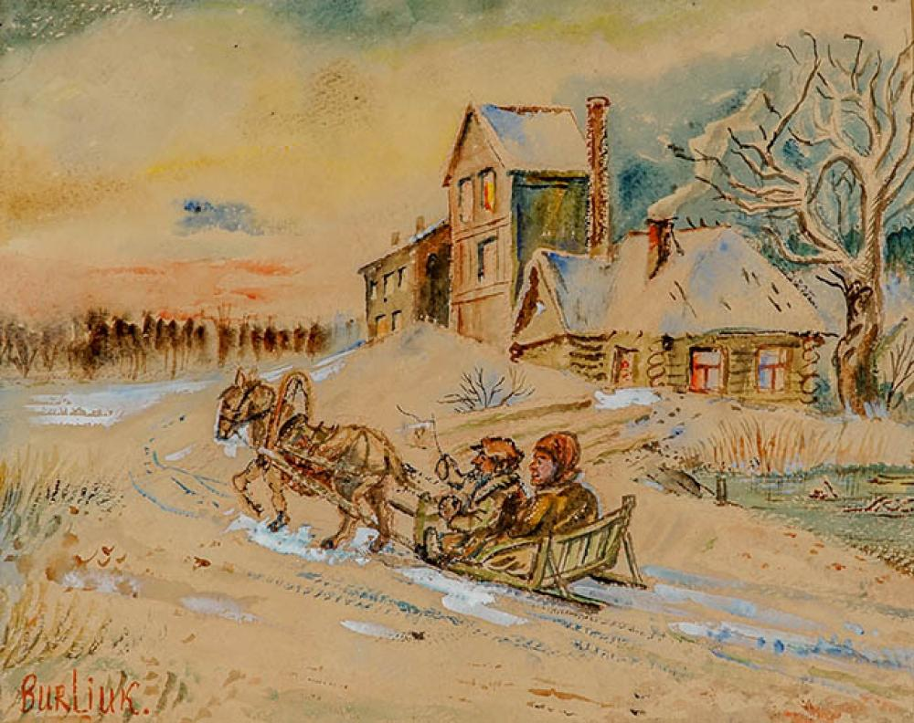 David Burliuk (Ukrainian 1882-1967), Figures in a Horse-Drawn Sleigh, Watercolor and Gouache with White Heightening on Paper
