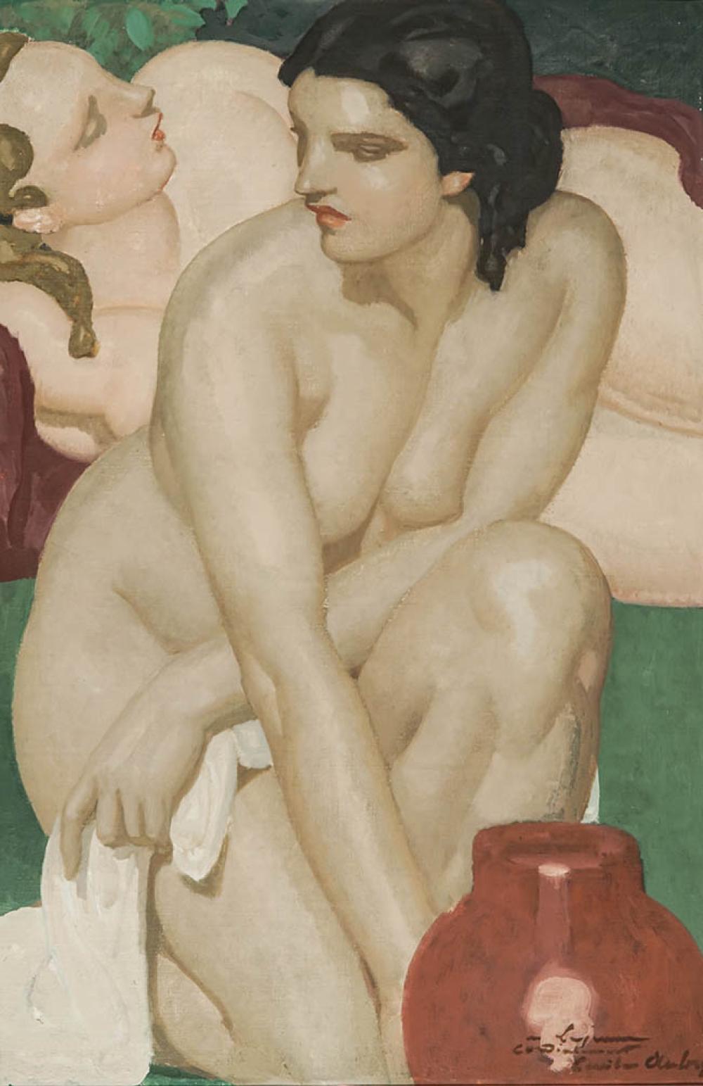 European School, 20th Century, Les Deux Amies, Oil on Canvas, 31-1/2 x 20-3/4 in