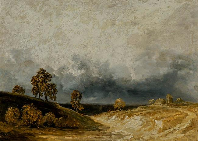 Attributed to Georges Michel (French 1763-1843), Landscape with Stormy Sky, Oil on Canvas, 14 x 20-1/2 in