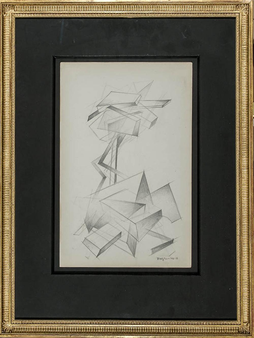 Attributed to Alexandre Mikhailovich Rodchenko (Russian 1891-1956), Untitled, Graphite on Paper, Framed, Sheet size: 13-3/4 x 9 in