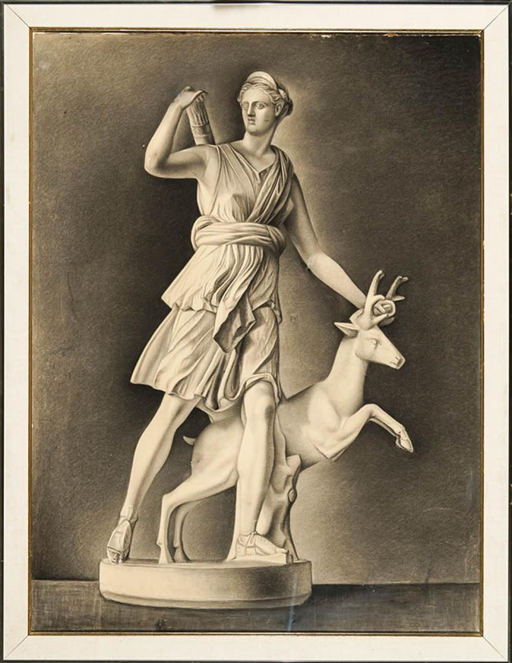 European School, 20th Century, Diana the Huntress with Stag, Charcoal on Paper mounted on Linen, 39-1/2 x 29-1/2 in