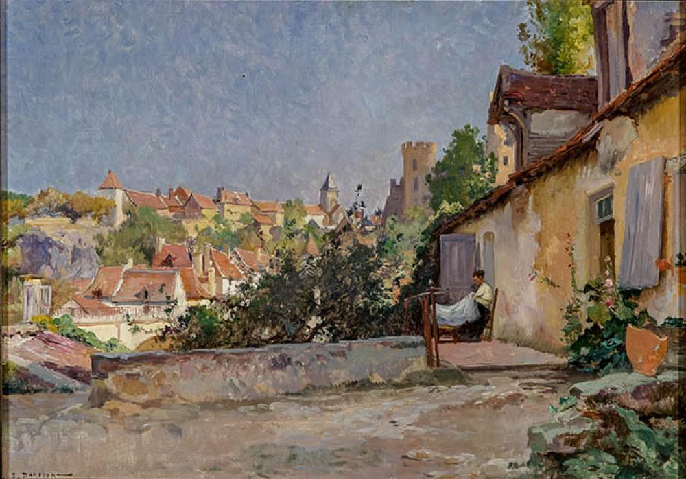 Emile Charles Dameron (French 1848-1908), Le Village Ensoleillé, Oil on Canvas, 15 x 21-3/4 in