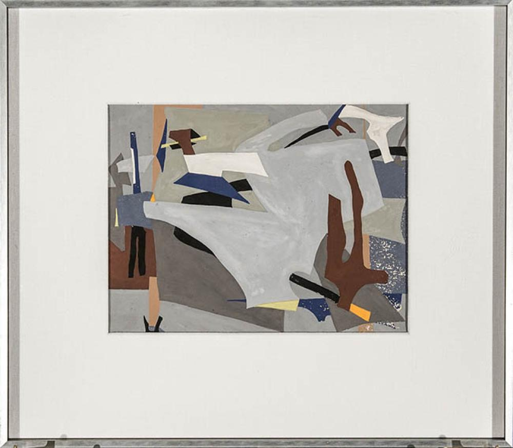 Esphyr Slobodkina (Russian/American 1914-2002), Untitled Abstract, Gouache on Board, 6-3/4 x 9 in