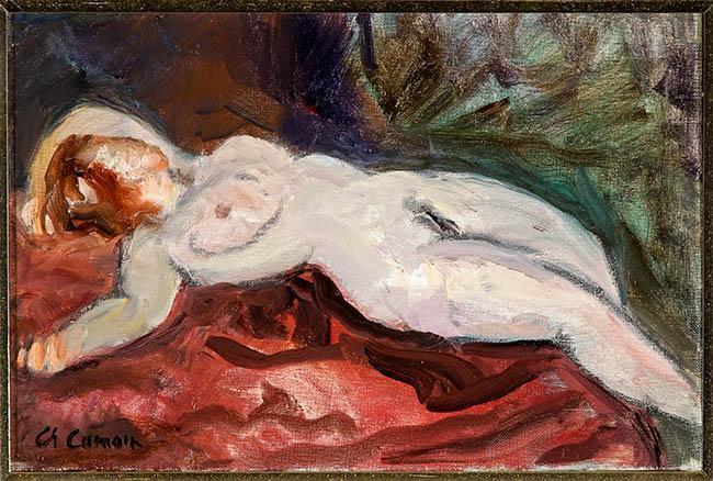 Charles Camoin (French 1879-1965), Femme au Divan, Allongée et Renversée, Oil on Canvas, 8-1/2 x 13 in