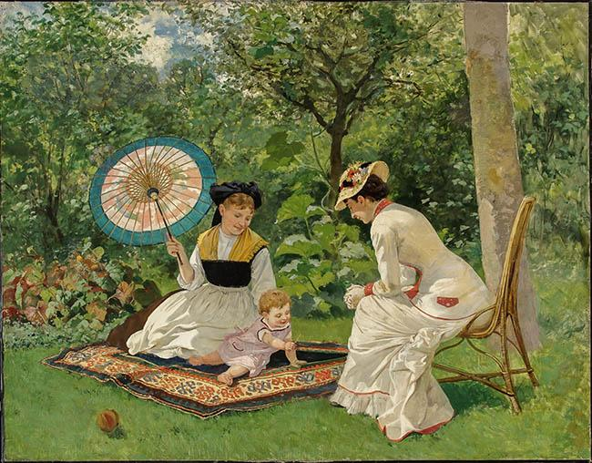 Raoul Edmond Marie (French b. 1850), Women and Child in a Garden, Oil on Canvas, 40 x 50 in