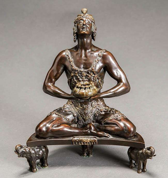Malvina Cornell Hoffman (American 1887-1966), Hindu Incense Burner, Partial Gilt Brown Patinated Bronze Sculpture, H: 11 in