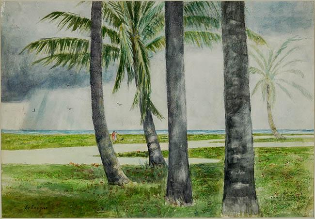 Henri Lebasque (French 1865-1937), Tropical Landscape with Rain Storm in the Distance, Watercolor on Paper, 17 x 25-1/2 in