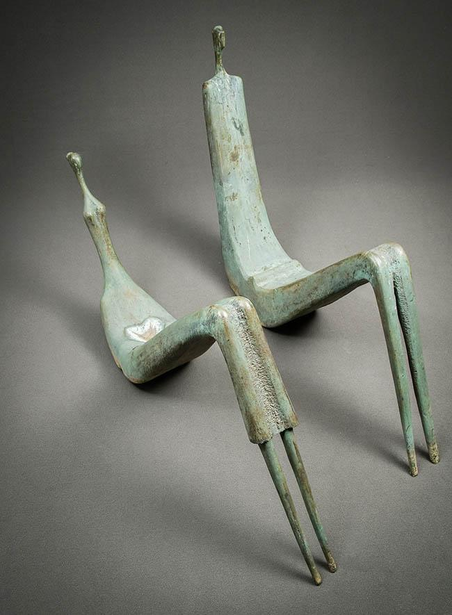Aharon Bezalel (Afghani/Israeli 1926-2012), Reclining Couple, Bronze Sculptures with Green Patina, Overall: 82 x 51 x 16 in