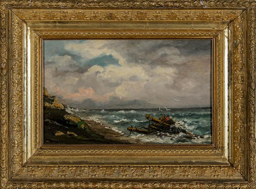 Louis-Gabriel-Eugène Isabey (French 1803-1886), Rocky Seascape with Wreckage of a Raft, Oil on Panel, 8-1/2 x 14 in