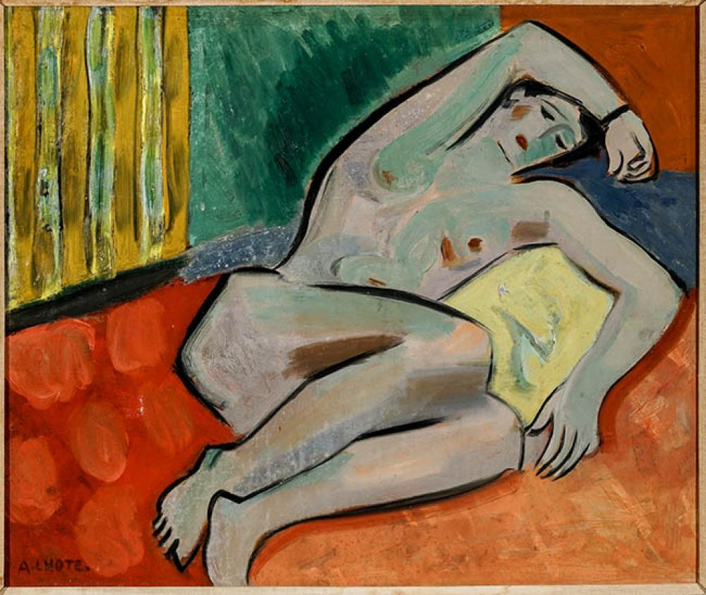 André Lhote (French 1885-1962), Femme Nue Allongée, Oil on Canvas, 21-1/2 x 25-1/2 in
