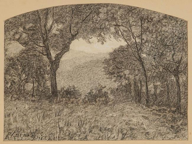 Henri Joseph Harpignies (French 1819-1916), Barbizon Forest Landscape, Charcoal on Paper, 9 x 12-1/4 in