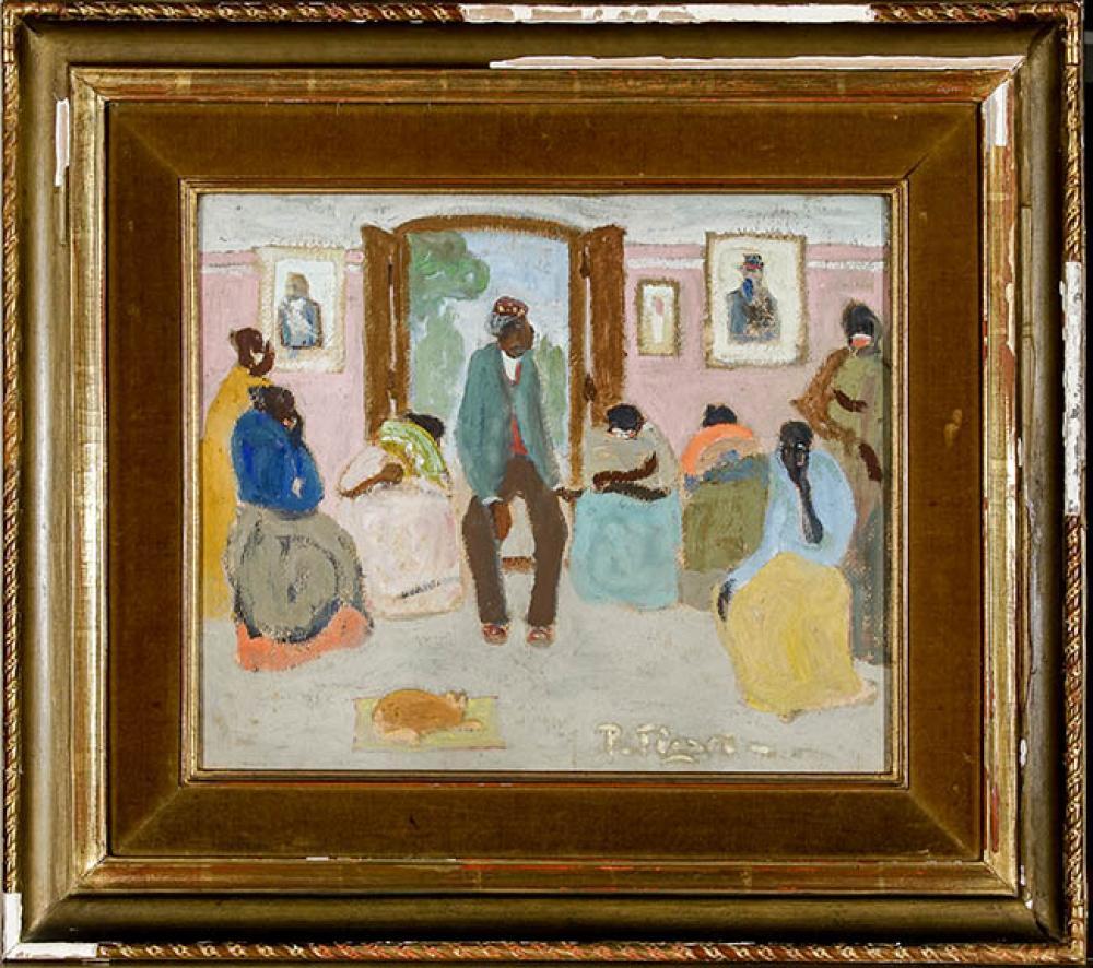 Pedro Figari (Uruguayan 1861-1938), Las Gracias del tío Eustáquie, Oil on Board, 13 x 16 in