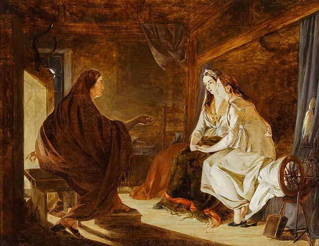 Henry Nelson O'Neil (British 1817-1880), The Fortune Teller, Oil on Canvas, 28 x 36 in