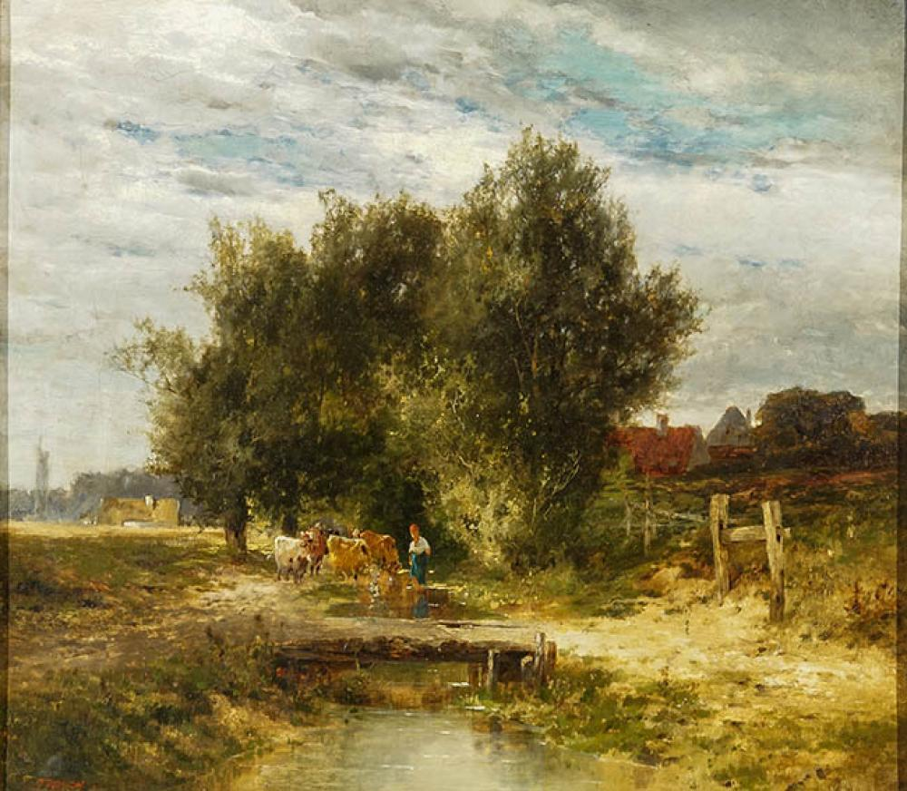 Constantin Troyon (French 1810-1865), Figure with Cows in a Village Landscape, Oil on Canvas, 14-3/4 x 17 in