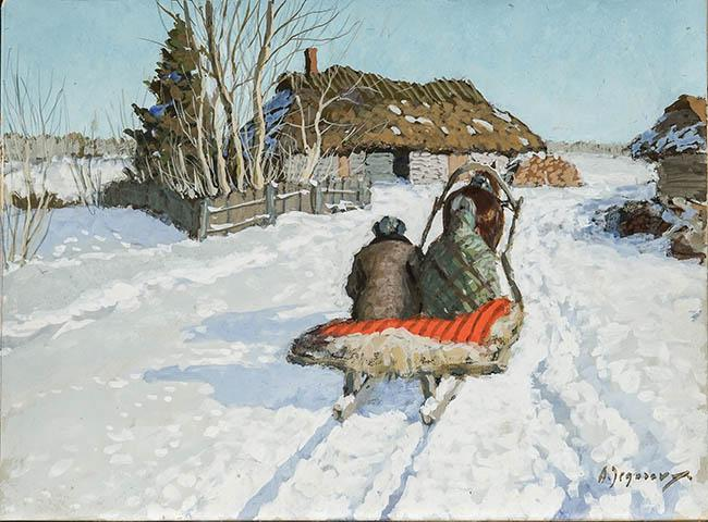 Andrei Afanasievich Jegorov (Russian 1878-1954), Winter Landscape with Figures on Sleigh Covered in Red Blanket, Tempera on Paper
