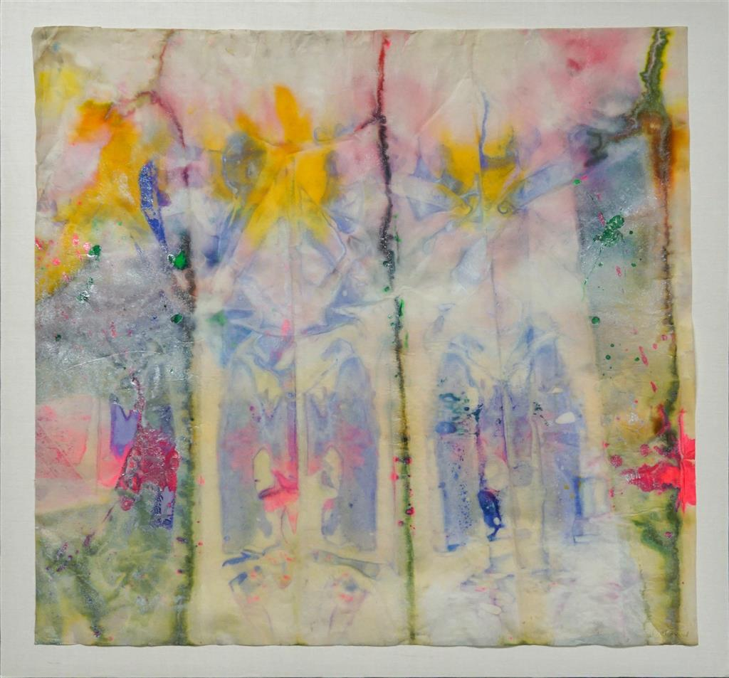 Sam Gilliam (American b. 1933), Untitled Abstract, Watercolor with Metallic Paint and Aluminum Dust on Paper, 35-1/2 x 38-1/2 in