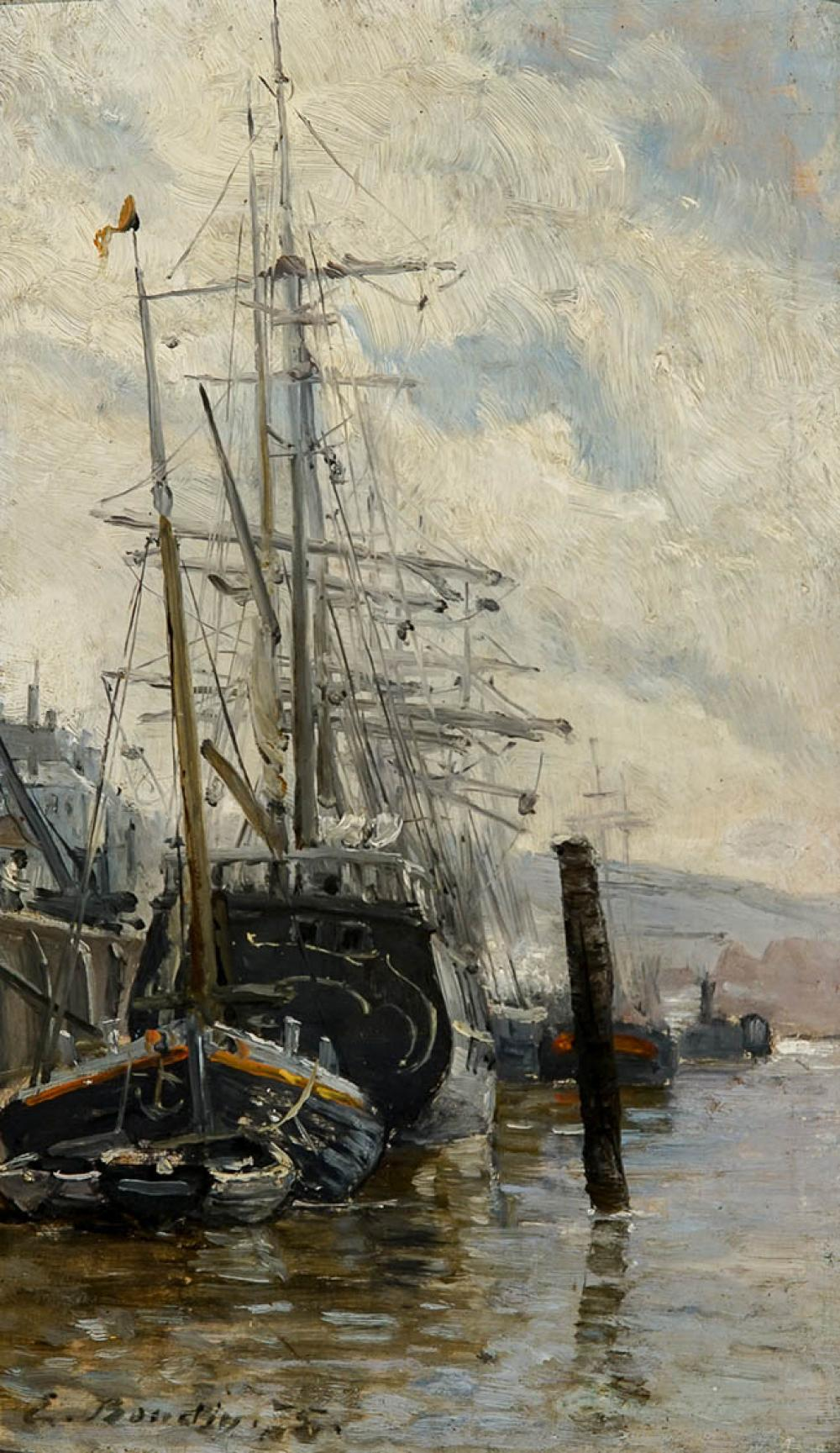Attributed to Eugene Louis Boudin (French 1824-1898), Voilier au Port, Oil on Board, 9-1/4 x 5-1/4 in