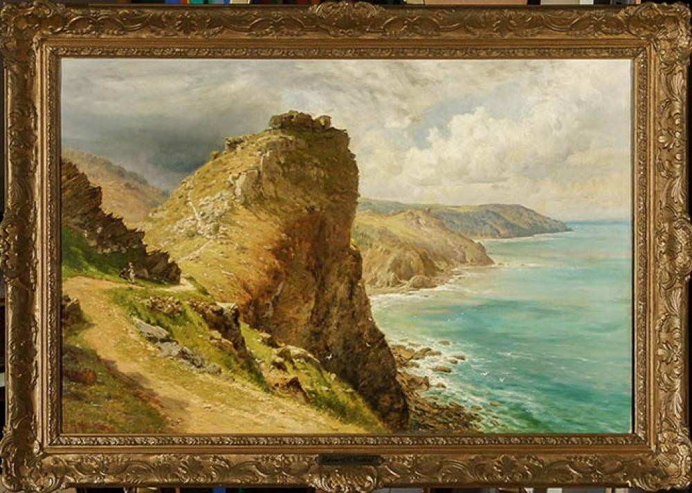 Edward Henry Holder (British 1847-1922), Coastal View, Possibly Valley of the Rocks, Oil on Canvas, 20 x 30 in