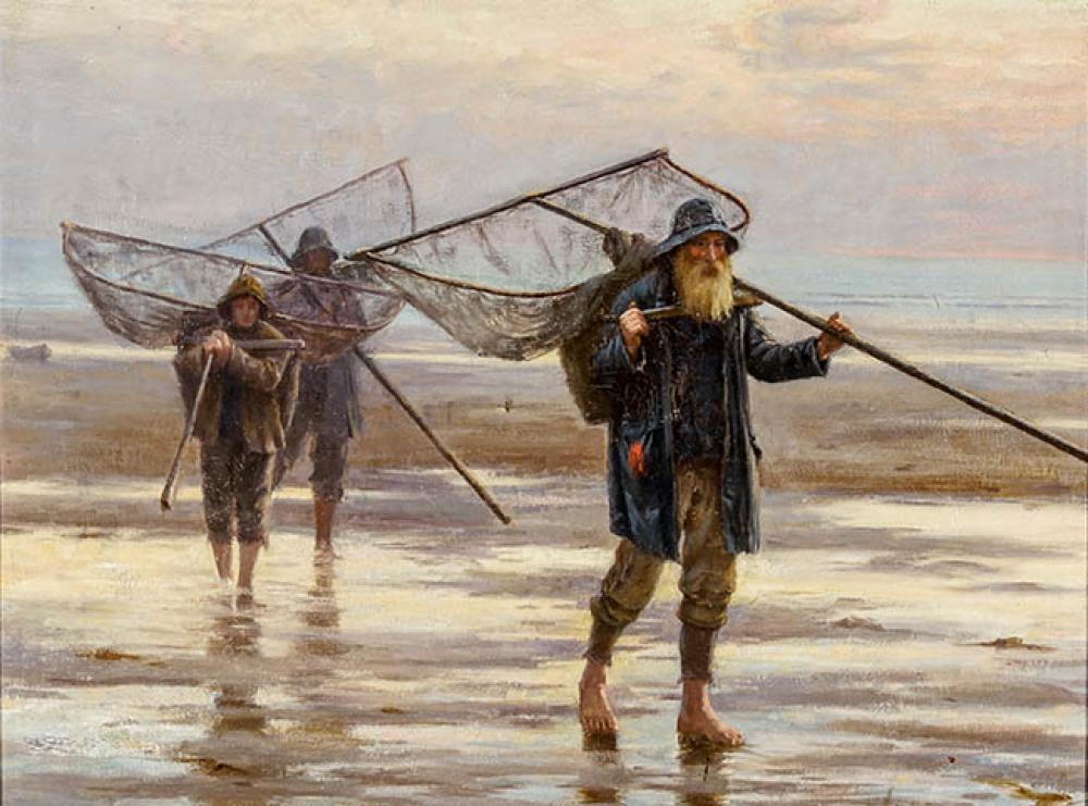 Attributed to William Hannah Clarke (British 1882-1924), Three Fishermen Returning from Sea, Oil on Canvas, 17 x 23 in