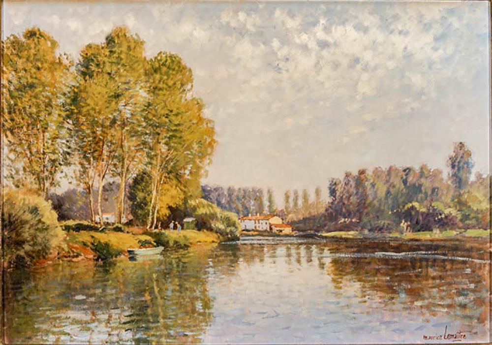 Maurice Lemaître (French 1929-2018), Sur la Sèvre Niortaise, Oil on Canvas, 18 x 25-1/2 in