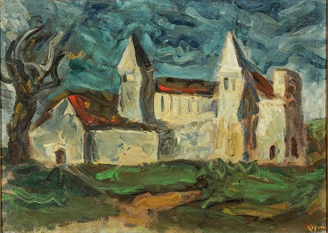 Benjamin Kopman (Russian/American 1887-1965), View of a Country Church, Oil on Canvas, 29 x 39 in